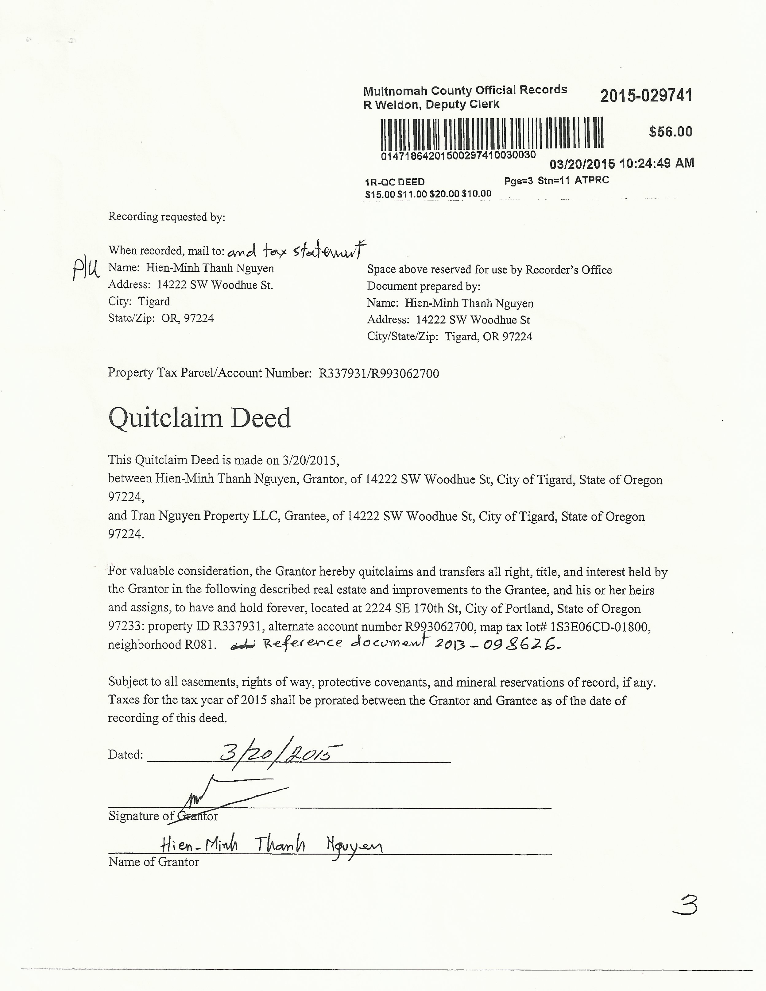 Transferring a title of property from a person to an llc for quit claim deeds all you have to do is pay a few dollars to get it printed here are some examples that i copied for my own quit claim deed solutioingenieria Choice Image